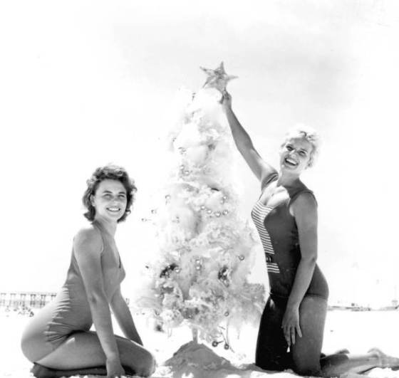 Young women decorating Christmas tree at the beach : Pensacola, Florida, 1962